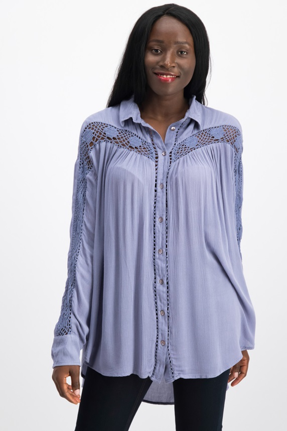 fd6c9fb2 Women ClothingTops & Tees. Free People Katie Bird Button Down Shirt, Blue