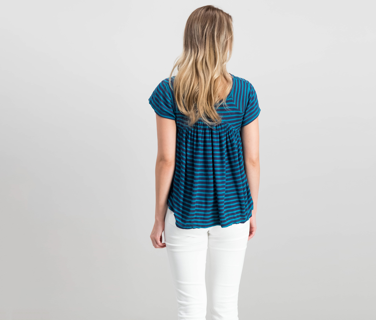Free People Womens JoJo Navy Striped Casual Pullover Top Shirt S BHFO 5608
