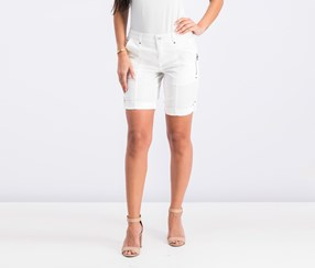 Style & Co Petite Cuffed Zipper-Detail Short, Bright White