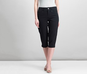 Style Co Petite Slit-Hem Capri Pants, Deep Black