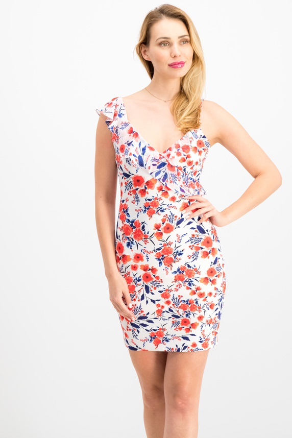 a4be08f5c3 Women ClothingDresses. Guess Asymmetrical Floral Bodycon Dress, White/Red  Combo