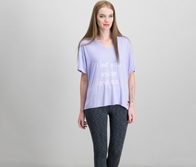 Peace Love World Mia Graphic T-Shirt, Orchid