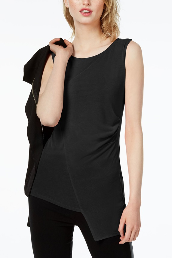 3b34a004 Bar III Women's Ruched Envelope Top, Black