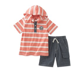 Kids Headquarters Boy's Striped Shirt & Cargo Shorts Set, Orange