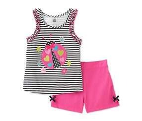 Kids Headquarters  Girl's Stripe Ladybug Short Set,  Pink