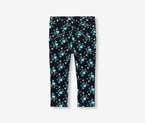Toddler Girls Ditzy Floral Print Knit Jeggings, Black Combo