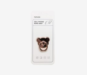 Cute Bear Cell Phone Ring Grip, Rose Gold