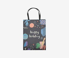 Happy Holiday Gift Bag, Charcoal