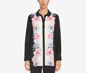 Cece Women's Engineered Floral Print Tunic, Black