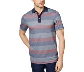 Tasso Elba Men's Classic Fit Striped Polo, Grey/Red