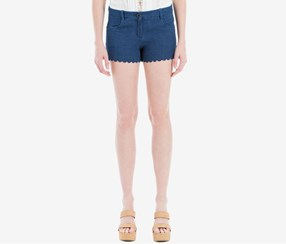 Max Studio London Women's  Cotton Denim Shorts, Navy Blue