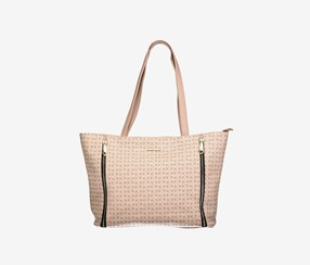 Rampage Geo R Logo With Side Zips Tote, Blush