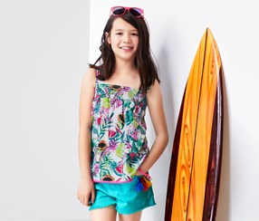 Girl's Top With Bobbles, Blue/Turquoise