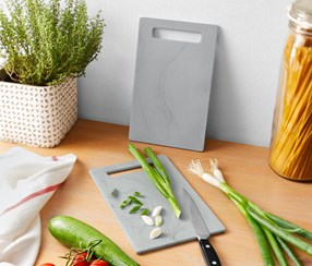 2 Cutting Boards In Marble Look , Grey