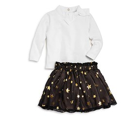 Kate Spade Girl's Bow Top & Star Print Skirt Set, Black/White