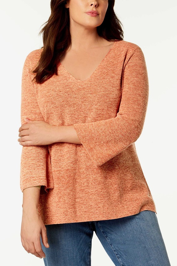 43f77fef774d9d Eileen Fisher Plus Size Organic Cotton Marled Bell-Sleeve Knit Top, Orange  Pekoe
