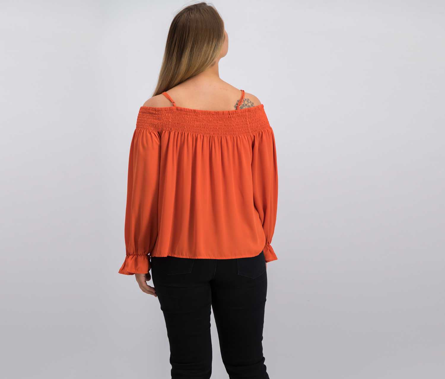 Details about  /Ultra Flirt Juniors Smocked Lace-up Off-the-Shoulder Blouse S//Apricot