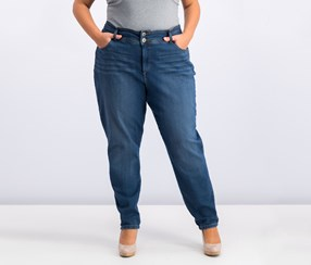 Plus Size Skinny Leg Double Button Jeans, Breeze
