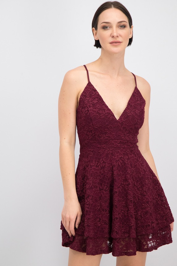 915b948ca1e0 Emerald Sundae Women's Love, Nickie Lew Lace Fit And Flare Dress, Burgundy