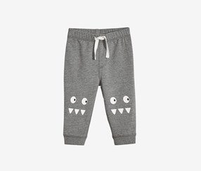 Baby Boys Monster-Graphic Jogger Pants, Pewter Heather