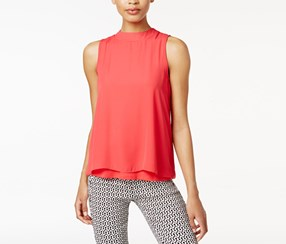 Bar Iii Layered Contrast Top, Red