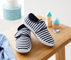 Boy's Striped House Shoes, Navy/White