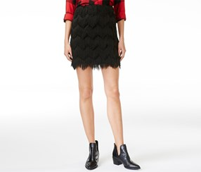 Maison Jules Women's Fringed Mini A-Line Skirt, Black