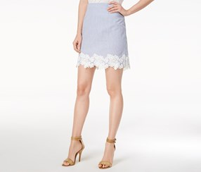 Maison Jules Women's Embroidered-Trim Skirt, Blue