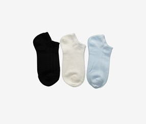 Women's 3-Pairs Low-Cut Socks, Black/Blue/White