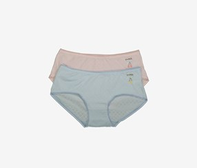 Women's Embroidered Underwear Set of 2, Pink/Blue