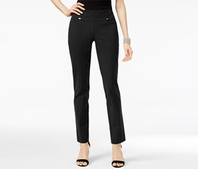 Alfani Women's Hardware-Detail Slim Pants, Black
