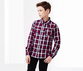 Boy's Check Shirt With 2 Breast Pockets, Red/White