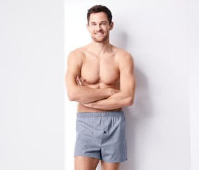 2 Pairs Of Woven Boxer Shorts, Blue/Grey