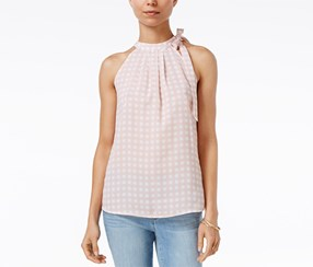 Maison Jules Women's Gingham-Print Tie-Neck Top, Pink