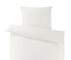 Percale Duvet Set, White/Pink