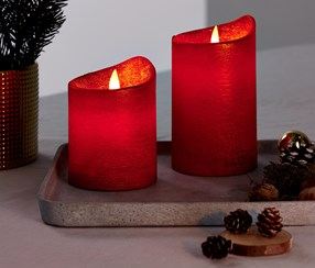 2 Led Real-Wax  Candles, Red