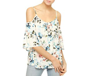 Sanctuary Women's Camilla Floral Cold Shoulder Top, White