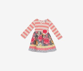 Baby Girls Striped Floral Dress, Coral Combo