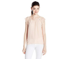 Miss Chievous Women's Scoop Neck Crochet Sleeve Top, Light Blush
