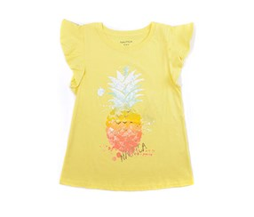 Nautica Girl's Pineapple Ruffle Sleeve Tee, Yellow