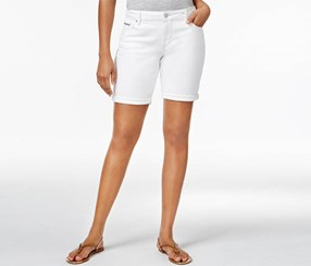 Calvin Klein Women's Denim Bermuda Shorts, White