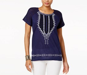Lucky Brand Women's Embroidered Knit-Contrast Top, Navy