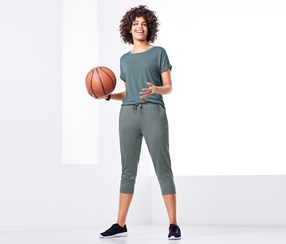 Women's Cropped Sports Trousers, Grey