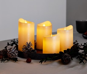 4 LED Real Wax Candles, Off White