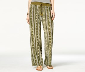 Be Bop Women's Printed Soft Palazzo Pants, Olive