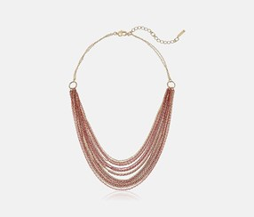 Short Multi Row Chain Strand Necklace, Coral/Gold