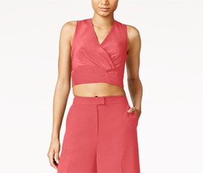 Rachel Rachel Roy Women's Sleeveless Zip-Back Crop Top, Pink