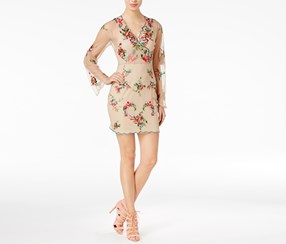 Guess Women's Delilah Embroidered Dress, Tan