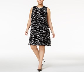 Calvin Klein Women's Plus Size Dot-Print Dress, Black