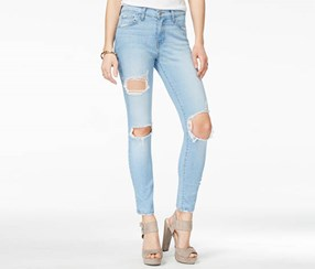 Flying Monkey Women's Cotton Ripped Wash Skinny Jeans, Blue